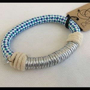 Chunky Bangle Bracelet Silver Blue Green Rope